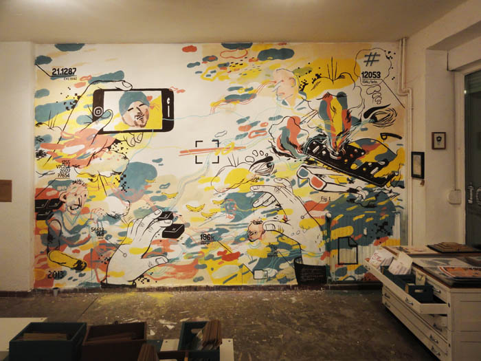 wallpainting with self pic: Adrian Buendia - by AndreaWan, FilippoDoner, JohannesMundinger, Rylsee