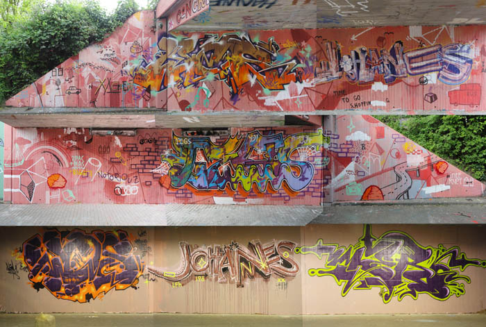Fotocollage - Graffitiwände