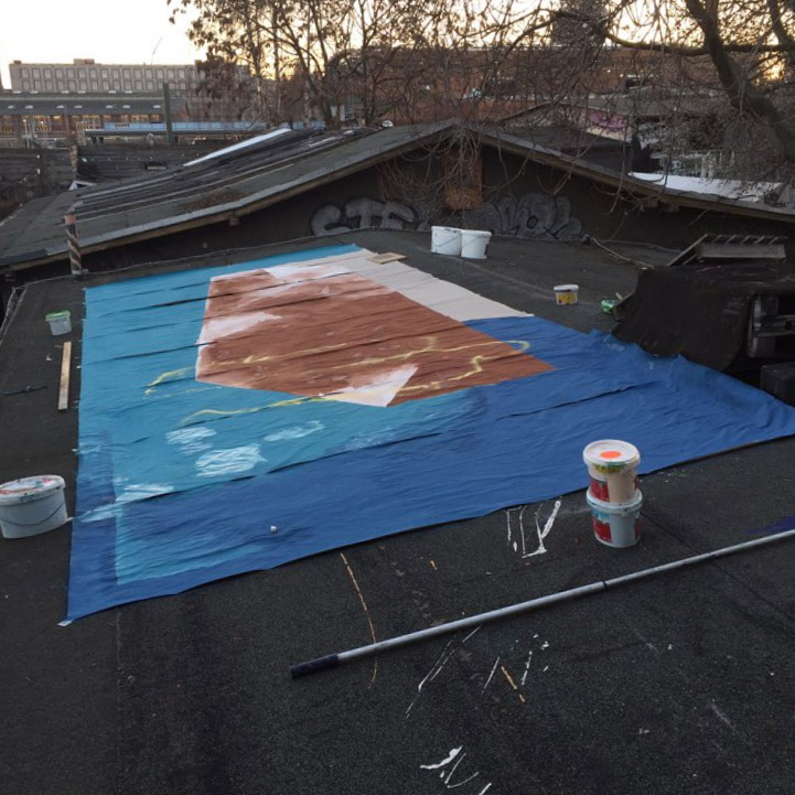 Rooftop studio at Urban Spree, Berlin, painting