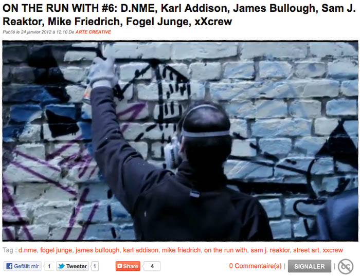 Screenshot arte movie - on the run with azione, D.NME; Karl Addison; James Bullough; Sam J. Reaktor; Mike Friedrich; moi, Fogel Junge; johannes mundinger, moi, nonstop nonsens; patu, xXcrew;