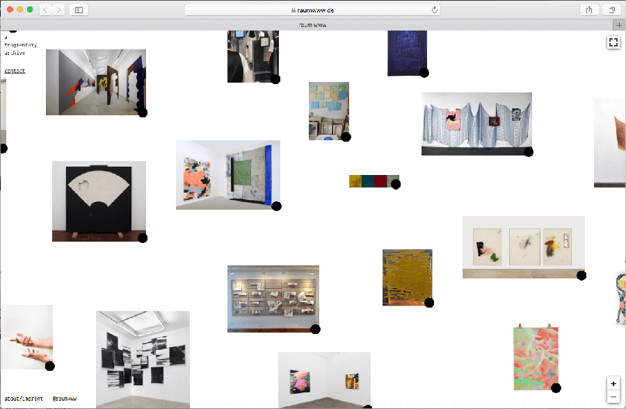 Screenshot of raumwww.de a collection of exhibitions and projects cancelled due to Covid-19