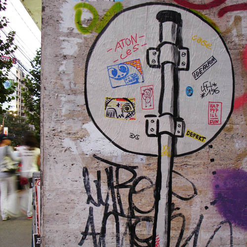Straßenschild in Bukarest -- Streetart -- cutout by xxcrew